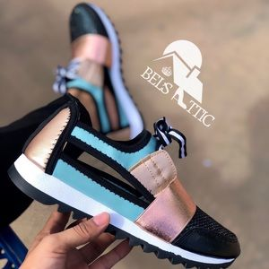 Teal and Champagne Sexy Side Cutout Sneaker Kicks